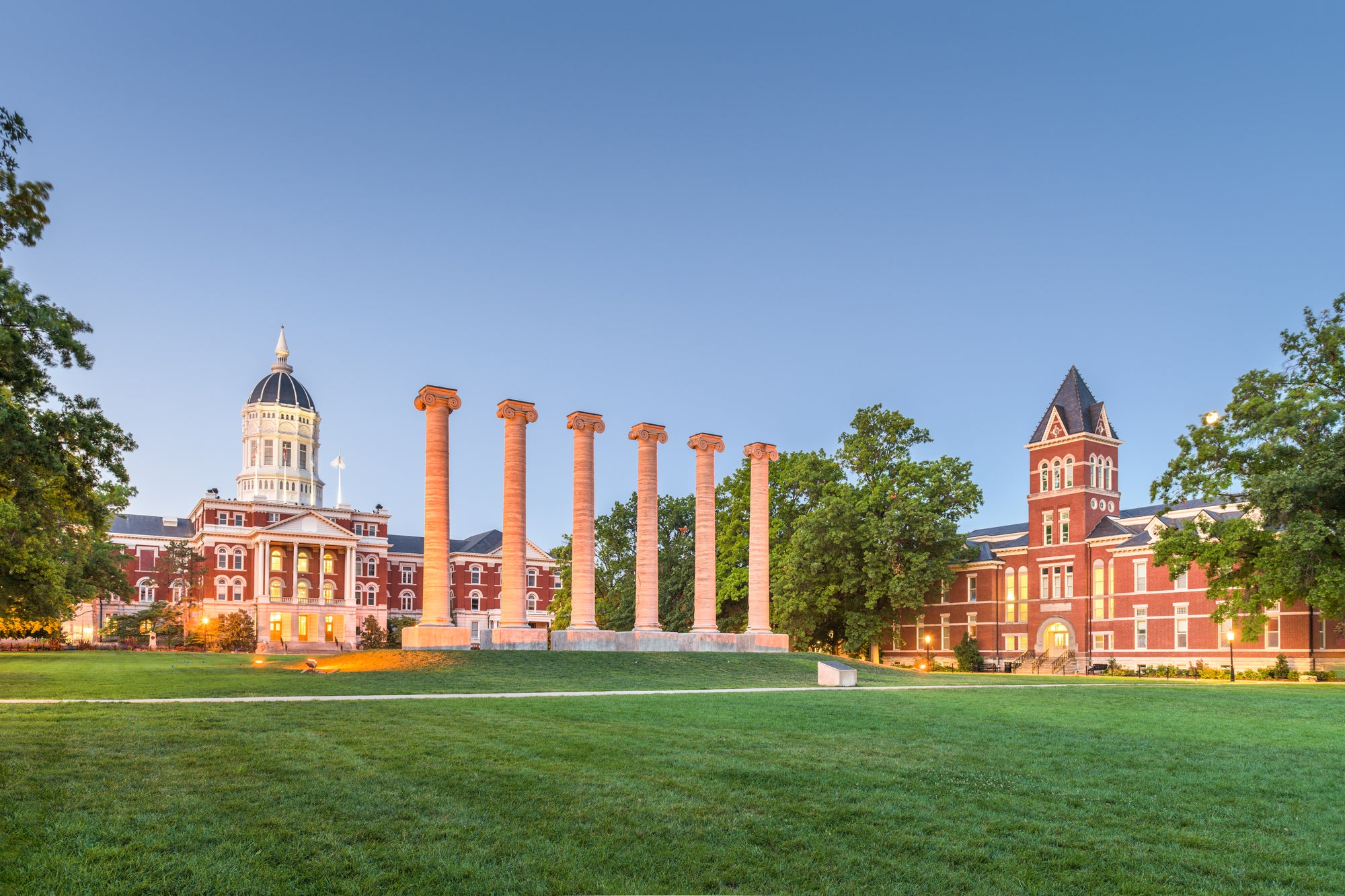 View of the University of Missouri green lit up