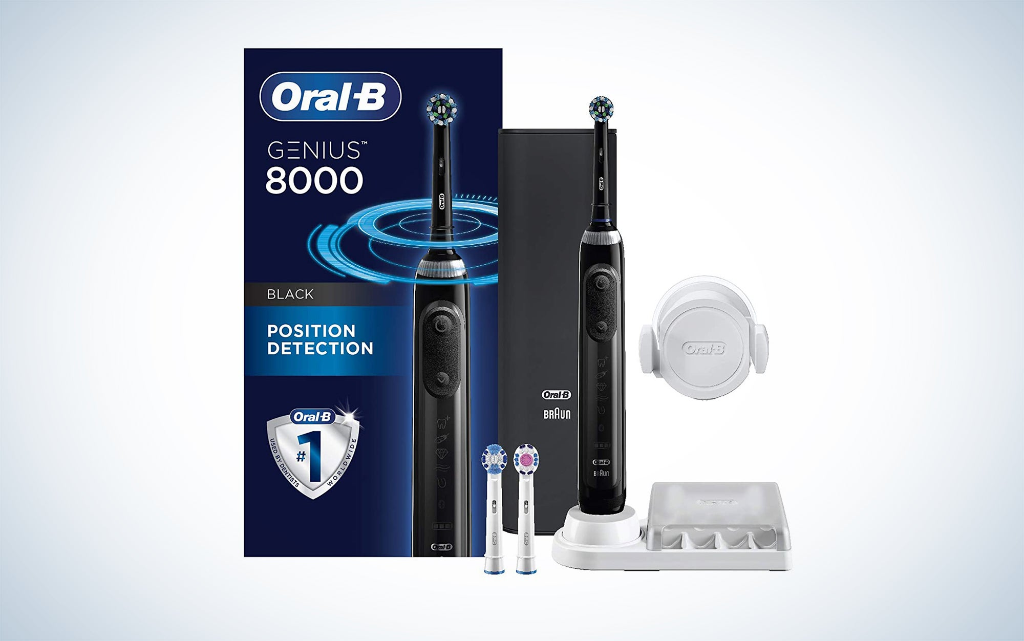Oral-B Genius Pro 8000 Electronic Power Rechargeable Battery Electric Toothbrush is an Oral-B electric toothbrush with many different cleaning modes.