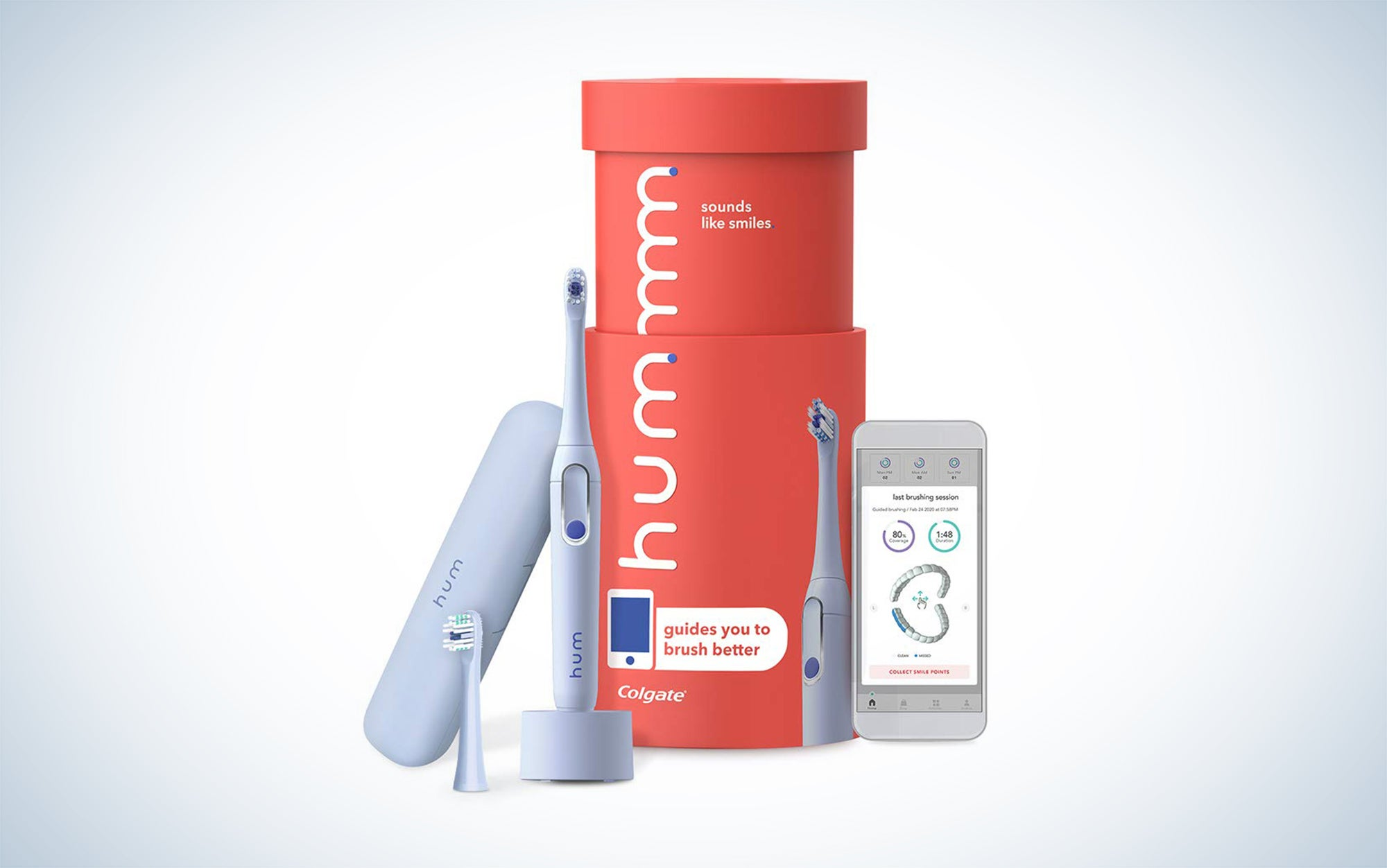 hum by Colgate Smart Electric Toothbrush Kit, Rechargeable Sonic Toothbrush with Travel Case and Replacement Head is the best travel electric toothbrush.