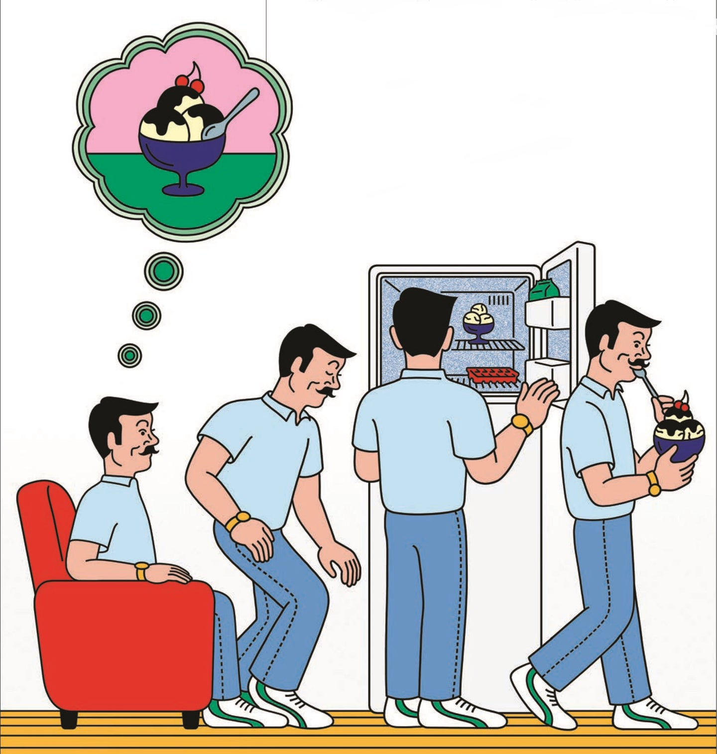 An illustration of a mustached individual getting up from an arm chair and getting a bowl full of ice cream from the freezer
