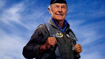 Chuck Yeager at a flying event in 1998