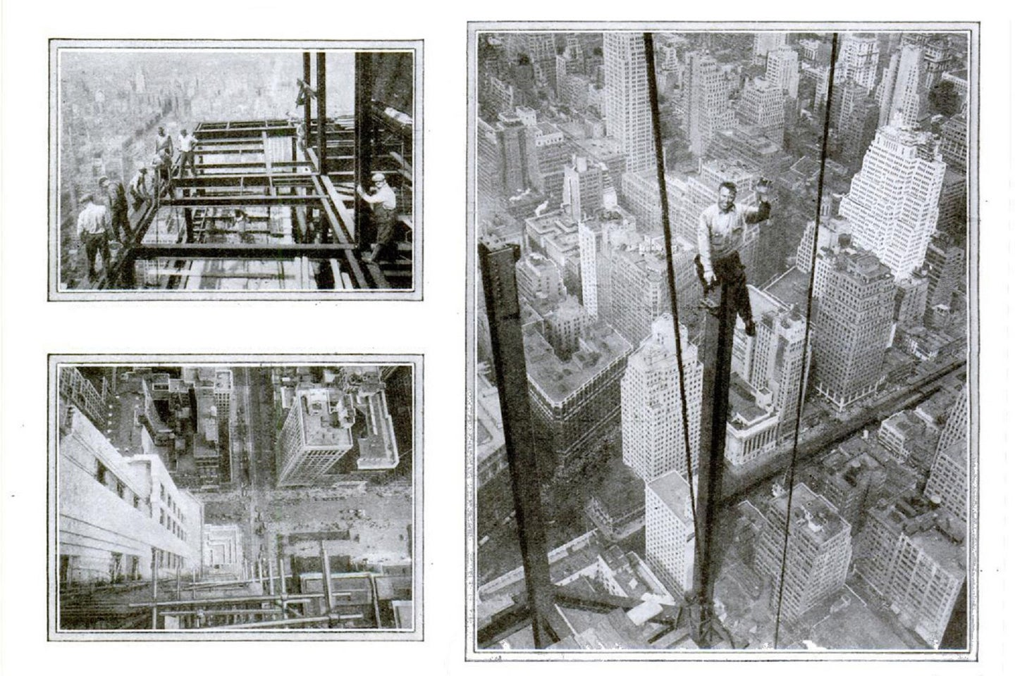 Black and white photos of workers at the Empire State Building site, who defied death by vaulting one-fifth of a mile up on ropes and girders