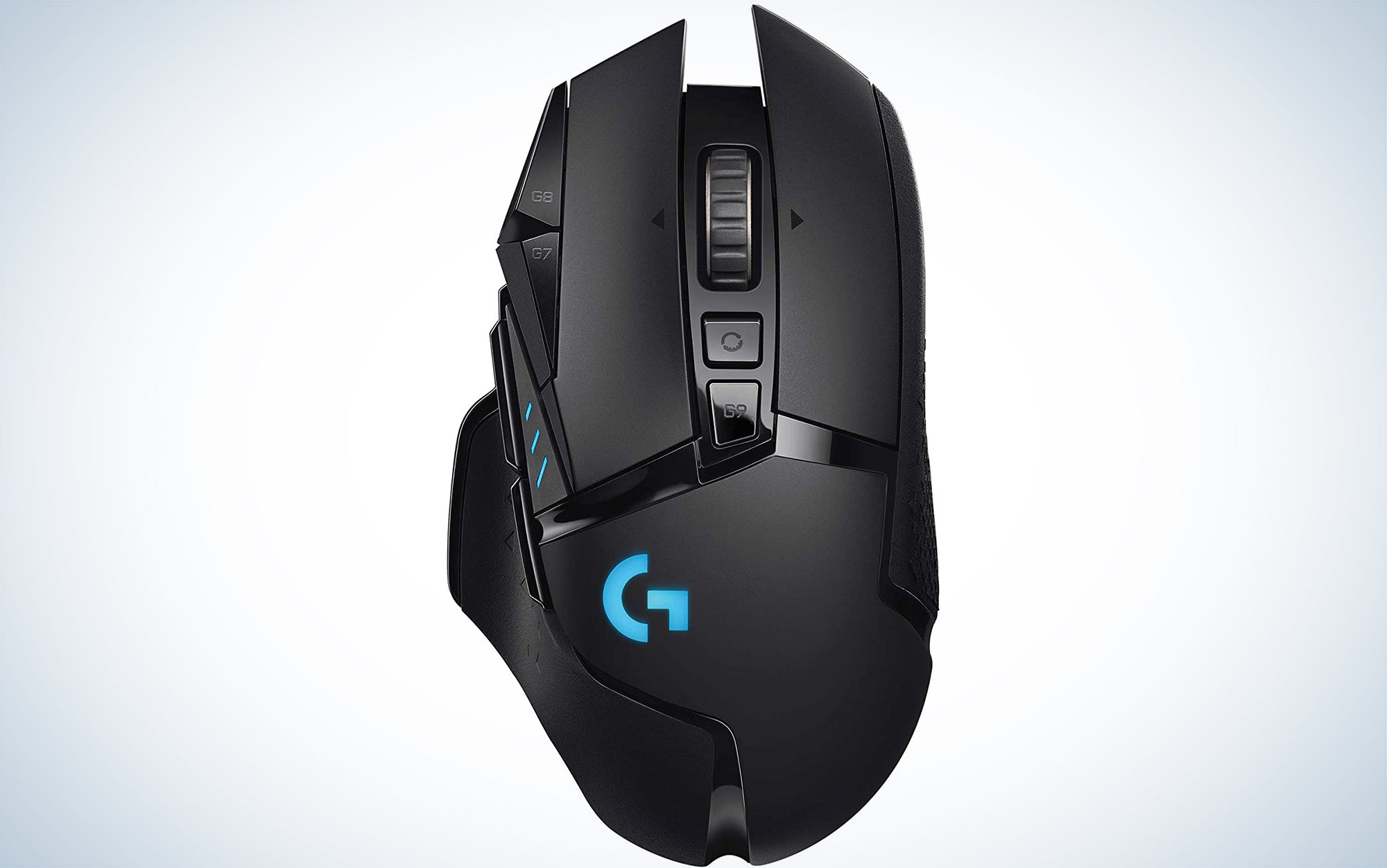 Logitech G502 Lightspeed Wireless Gaming Mouse with HERO 25K Sensor, PowerPlay Compatible, Tunable Weights and Lightsync RGB with the best gaming mouse reviews.
