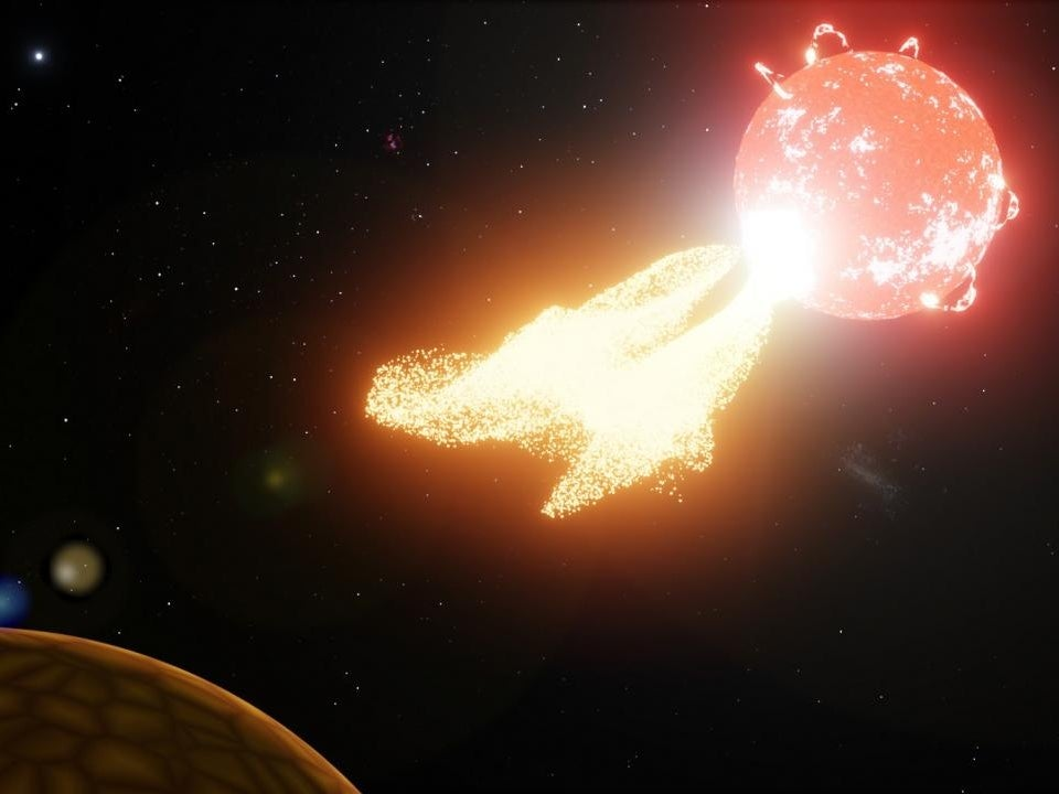 Artist's impression of flare from our neighboring star Proxima Centauri ejecting material onto a nearby planet.