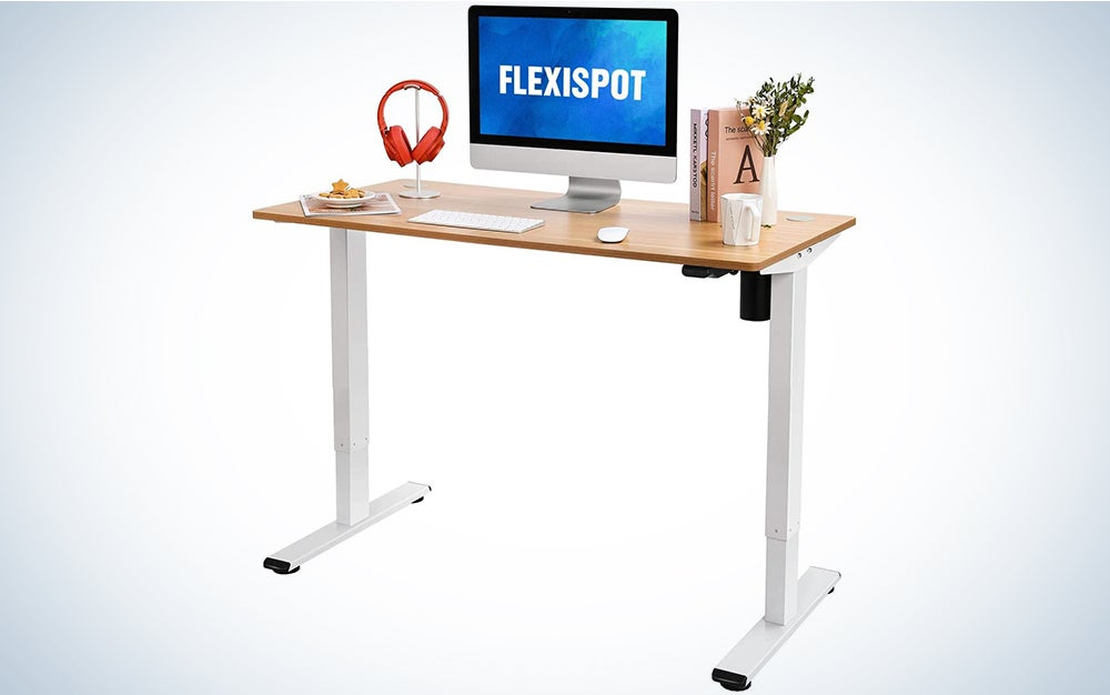 Flexispot Standing Desk Height Adjustable Desk Electric Sit Stand Desk 48 x 24 Inches Home Office Desks (White Frame + Maple Top)