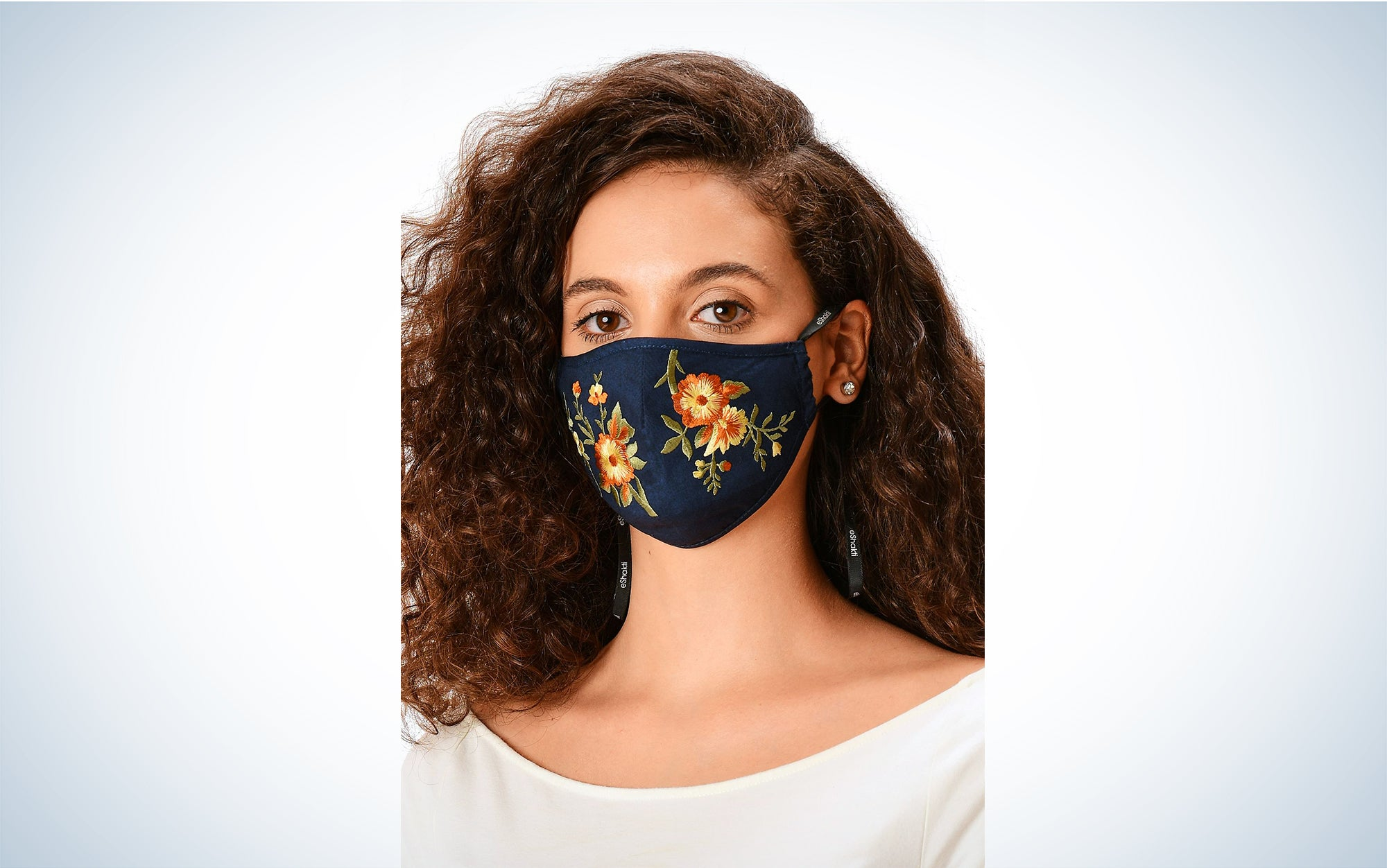 Embroidered floral face mask pattern