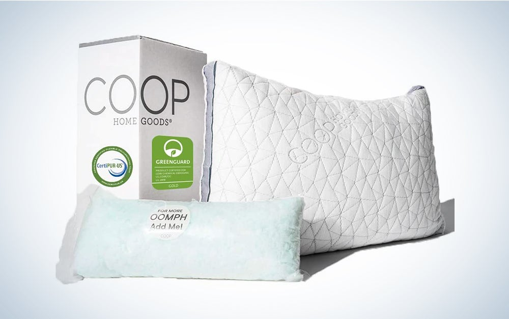 Coop Home Goods - Eden Adjustable Pillow - Hypoallergenic Shredded Memory Foam with Cooling Gel is the best pillow for side sleepers and the best pillow for stomach sleepers.