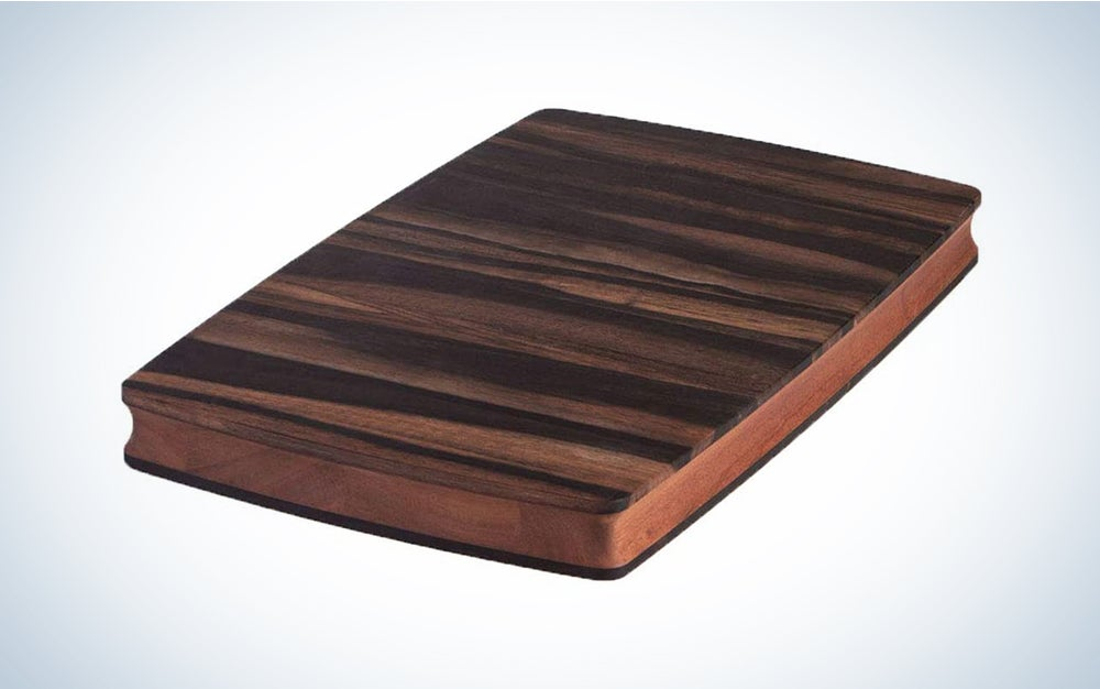 Stella Falone Reversible Cutting Board Made of Solid West African Crelicam Ebony Wood – 18'' x 11.4'' X 1.6'', Heavy-Duty, Premium Serving Board with Carved Grip Edge – Includes Conditioning Oil