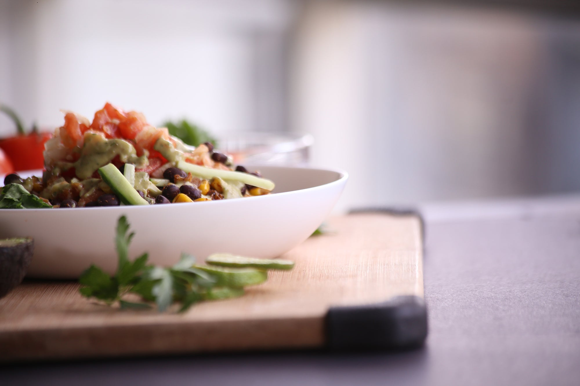 Chopped salad prepared with the best kitchen appliances.