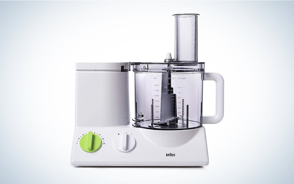 Braun FP3020 12 Cup Food Processor Ultra Quiet Powerful motor, includes 7 Attachment Blades + Chopper and Citrus Juicer is a top kitchen appliance.