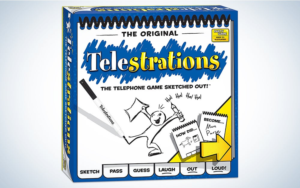 USAOPOLY Telestrations Original 8 Player, Family Board Game, A Fun Family Game for Kids and Adults, Family Game Night Just Got Better, The Telephone Game Sketched Out, Multicolor is a great board game for kids.