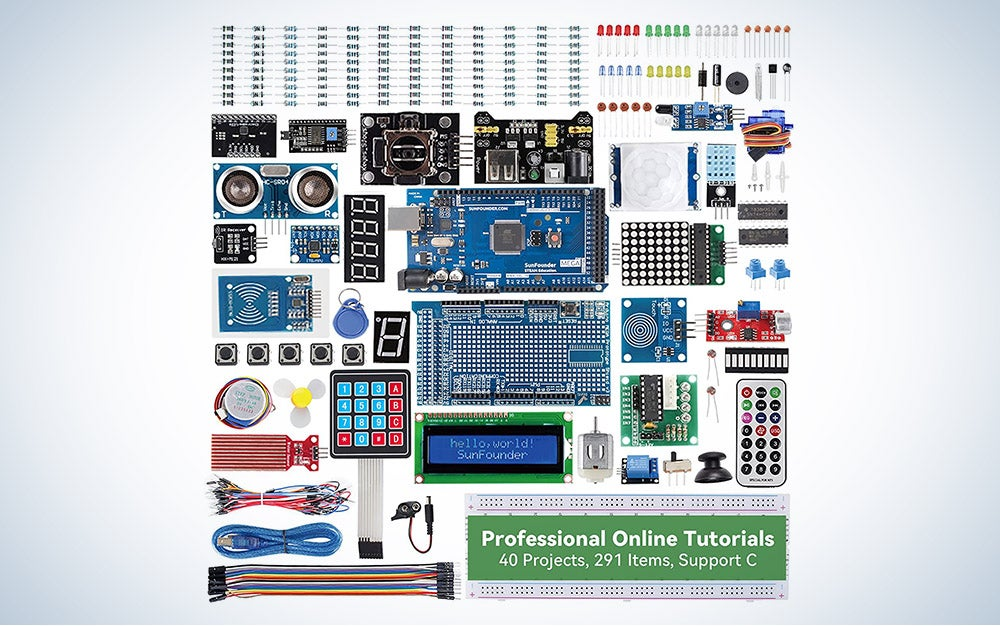 The Sunfounder Mega2560 R3 Project Kit is our pick for the best beyond the basics Arduino starter kit.
