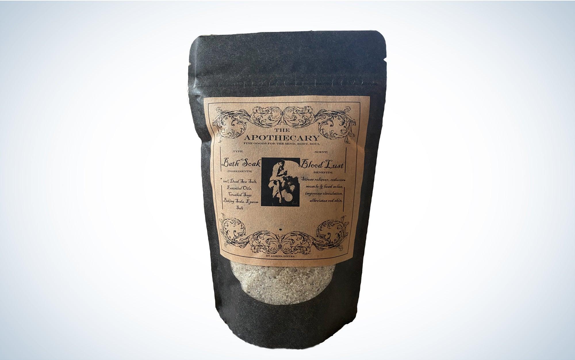 a black and brown bag full of salt