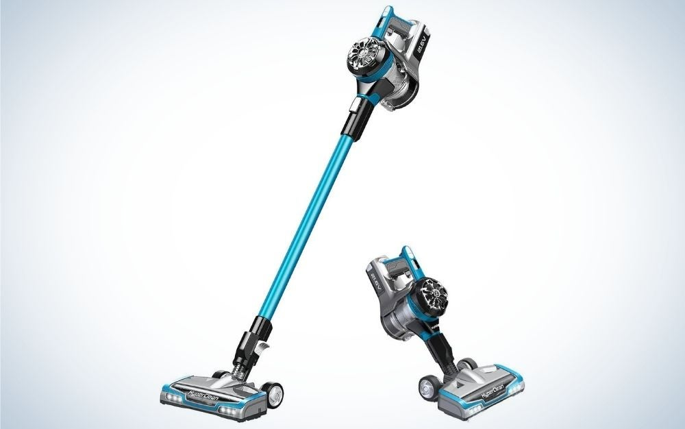 Light weighted, blue and grey cordless vacuum cleaner and handheld part