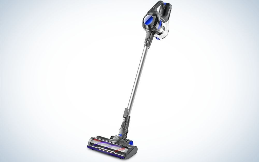 Grey and blue stick handheld cordless vacuum cleaner