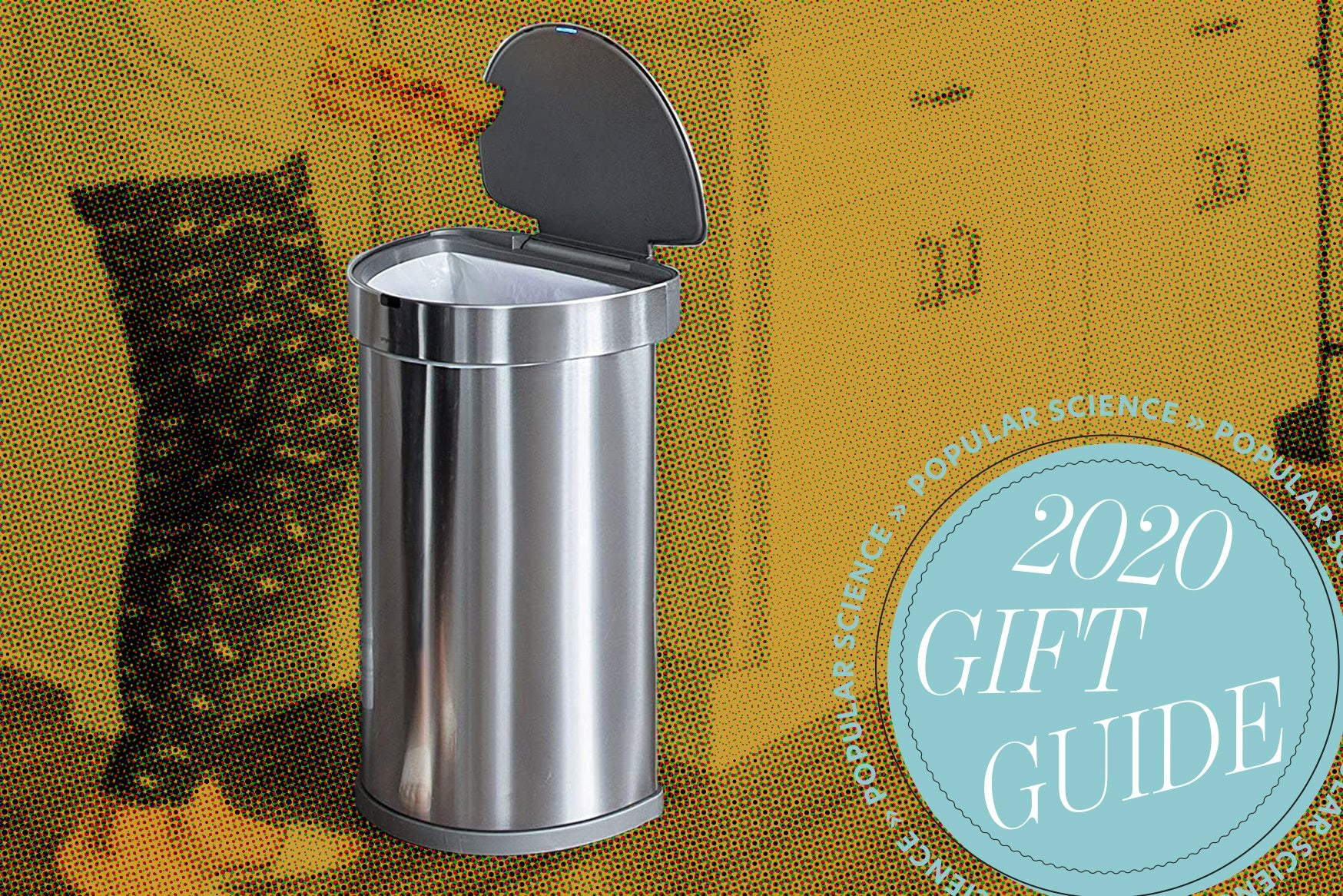 a person opens a flip-top trash can