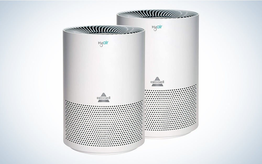 Bissell MYair, 2 Pack, Purifier with High Efficiency and Carbon Filter for Small Room and Home, Quiet Bedroom Air Cleaner for Allergies, Pets, Dust, Dander, Pollen, Smoke, Odors, Timer