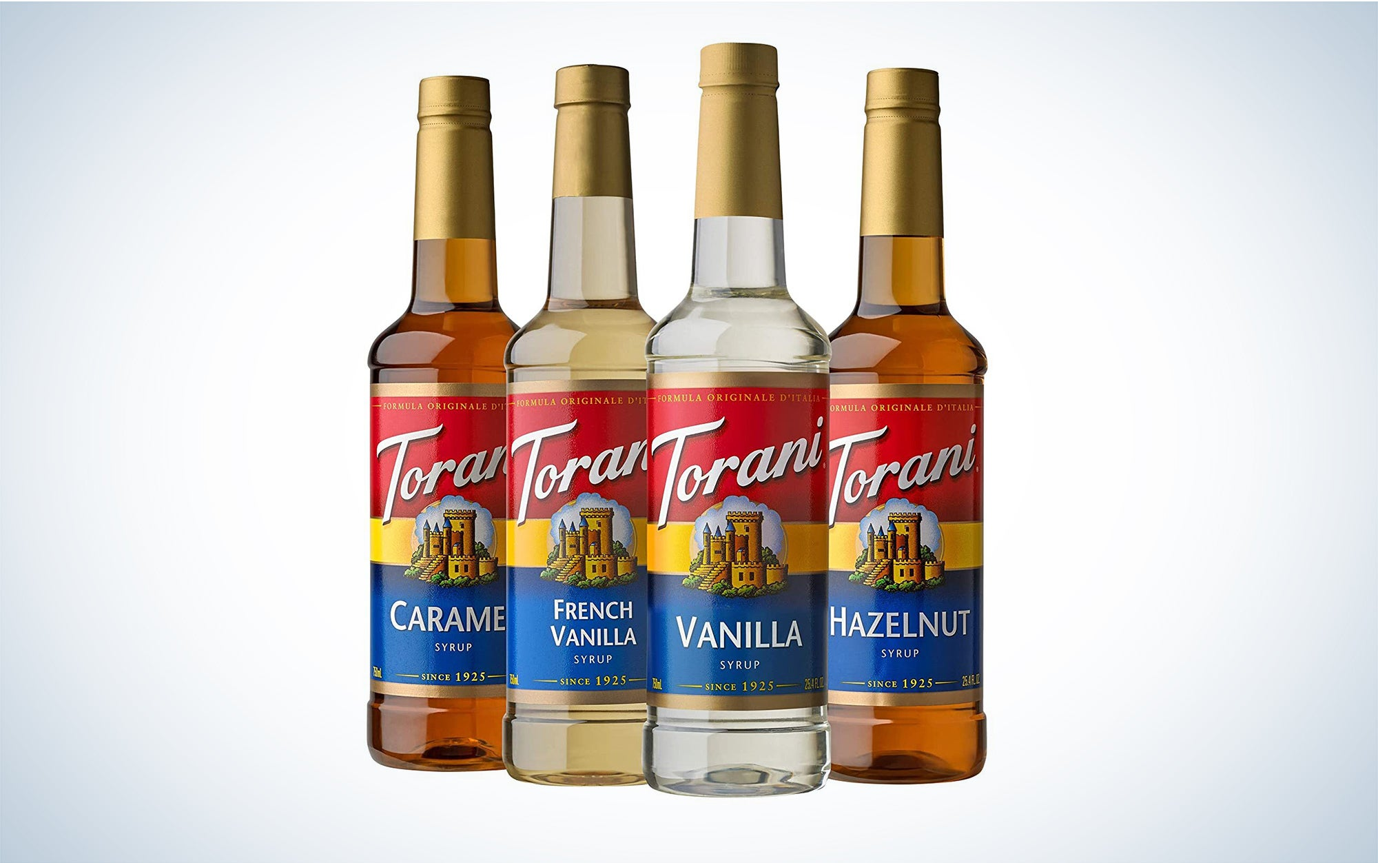 a selection of Torani syrups for flavoring coffee