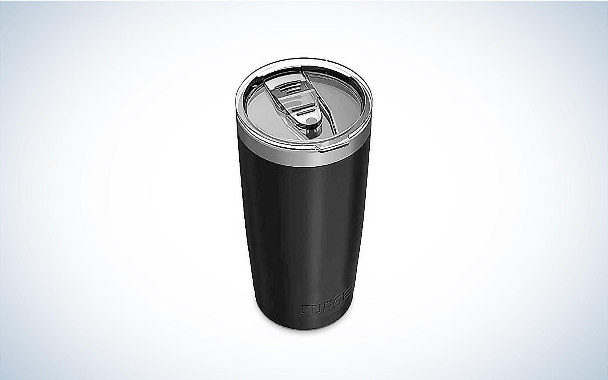 a black Juro 20-ounce tumbler travel mug