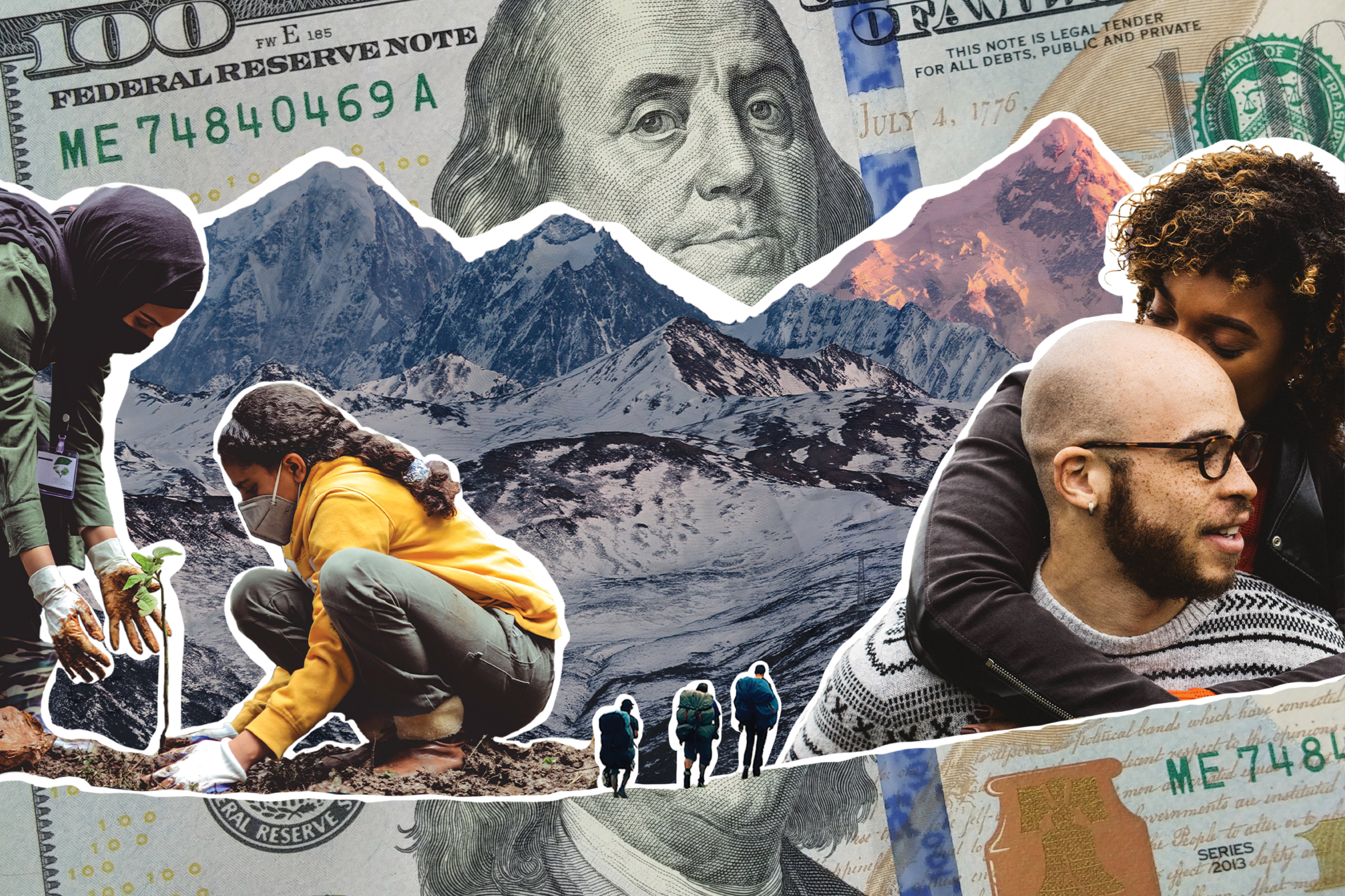 collage image showing people hugging and planting trees, with a 100 dollar bill surrounding them