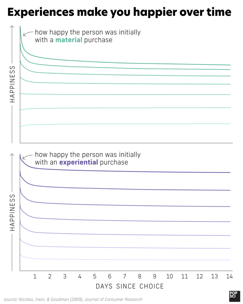 graph showing that happiness decreases over time with almost any purchase, but especially with material goods.