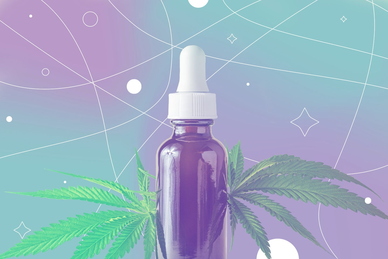 A CBD oil bottle with cannabis or hemp leaves