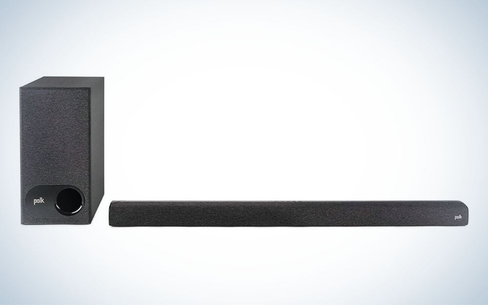 Black tv sound bar and wireless subwoofer