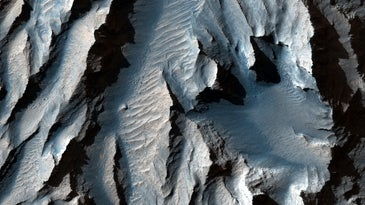 A close-up view of Tithonium Chasma, which is feature of Valles Marineris, the solar system's largest canyon.