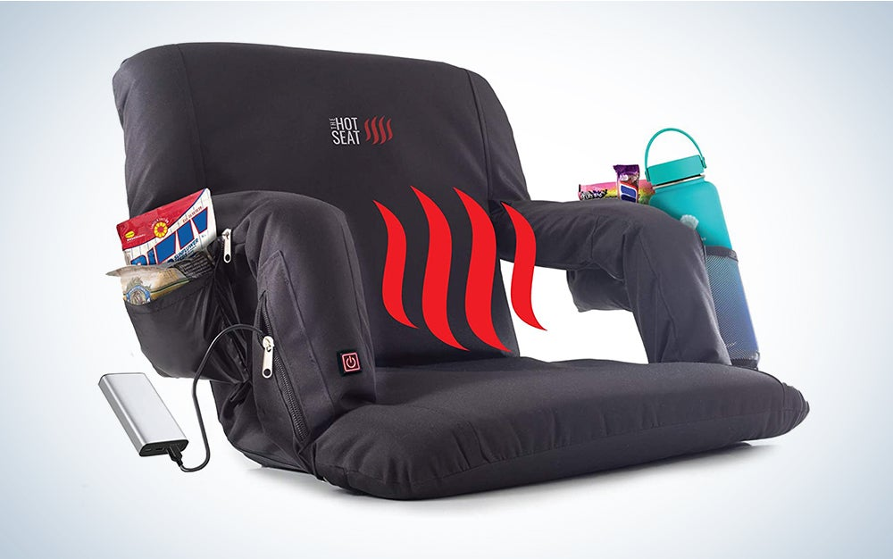 POP Design The Hot Seat, Heated Stadium Bleacher Seat, Reclining Back and Arm Support, Thick Cushion, 4 Storage Pockets Plus Cup Holder, Extra Wide Feature