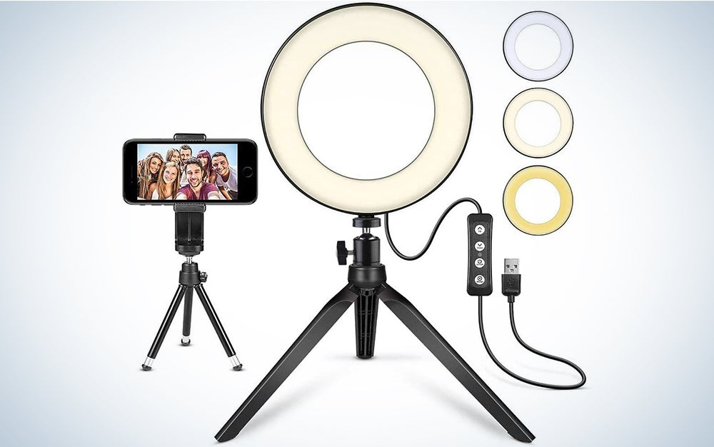 """LED Ring Light 6"""" with Tripod Stand for YouTube Video and Makeup, Mini LED Camera Light with Cell Phone Holder Desktop LED Lamp with 3 Light Modes & 11 Brightness Level"""
