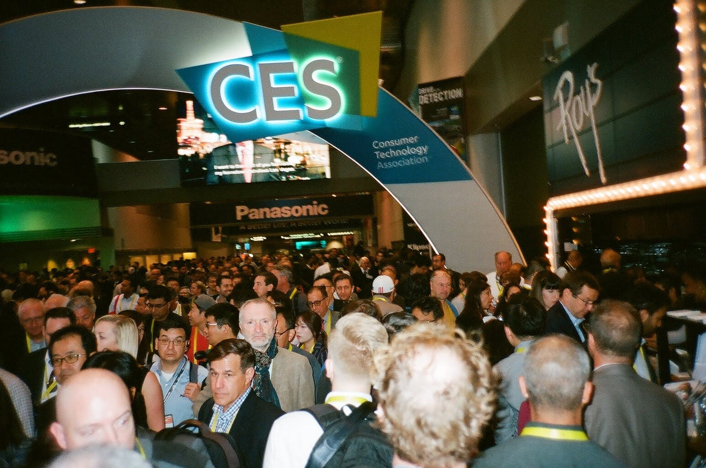 A crowd of people at the consumer electronics show.