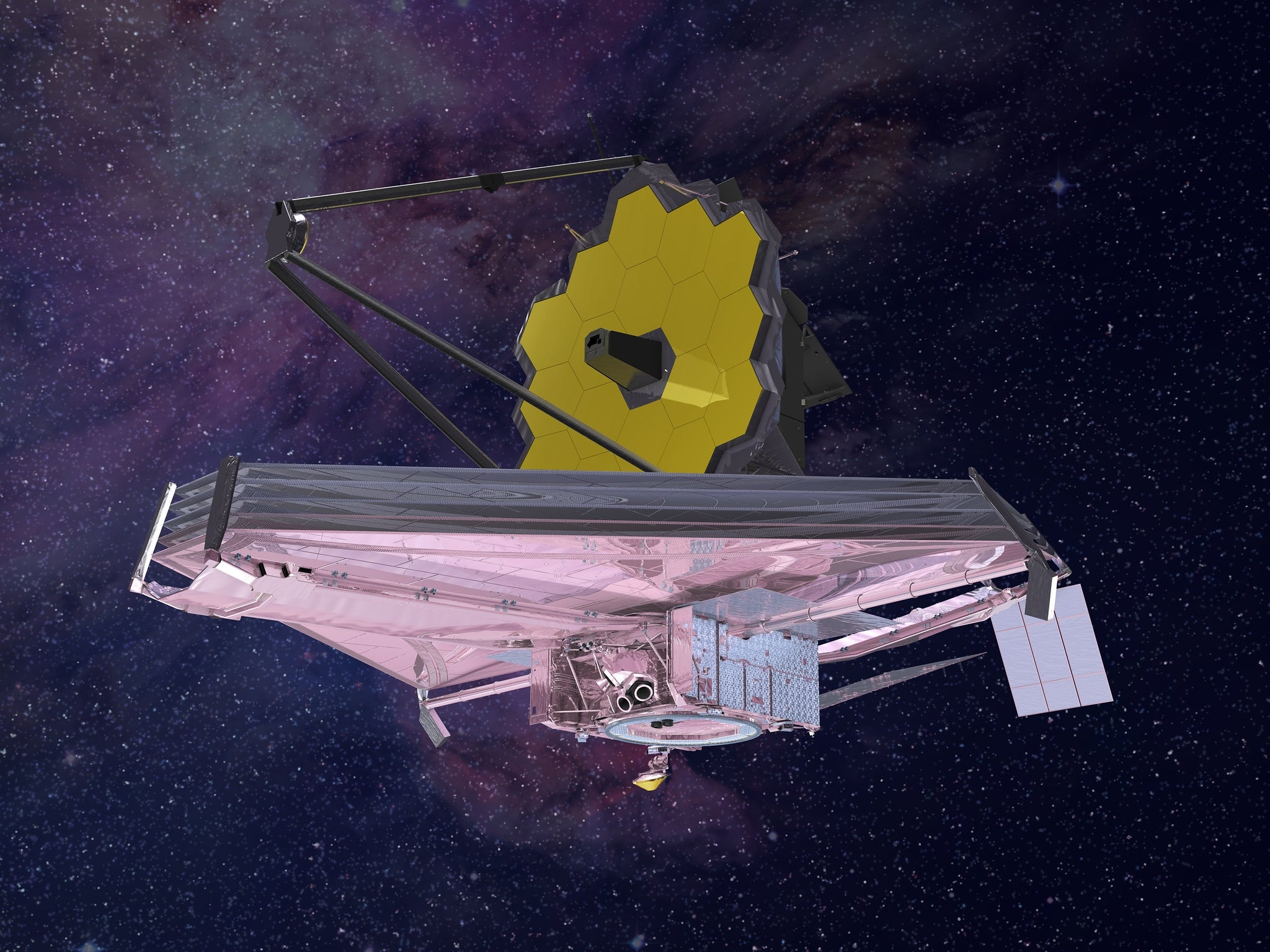 An artist's impression of the James Webb Space Telescope, finally set to launch this year.