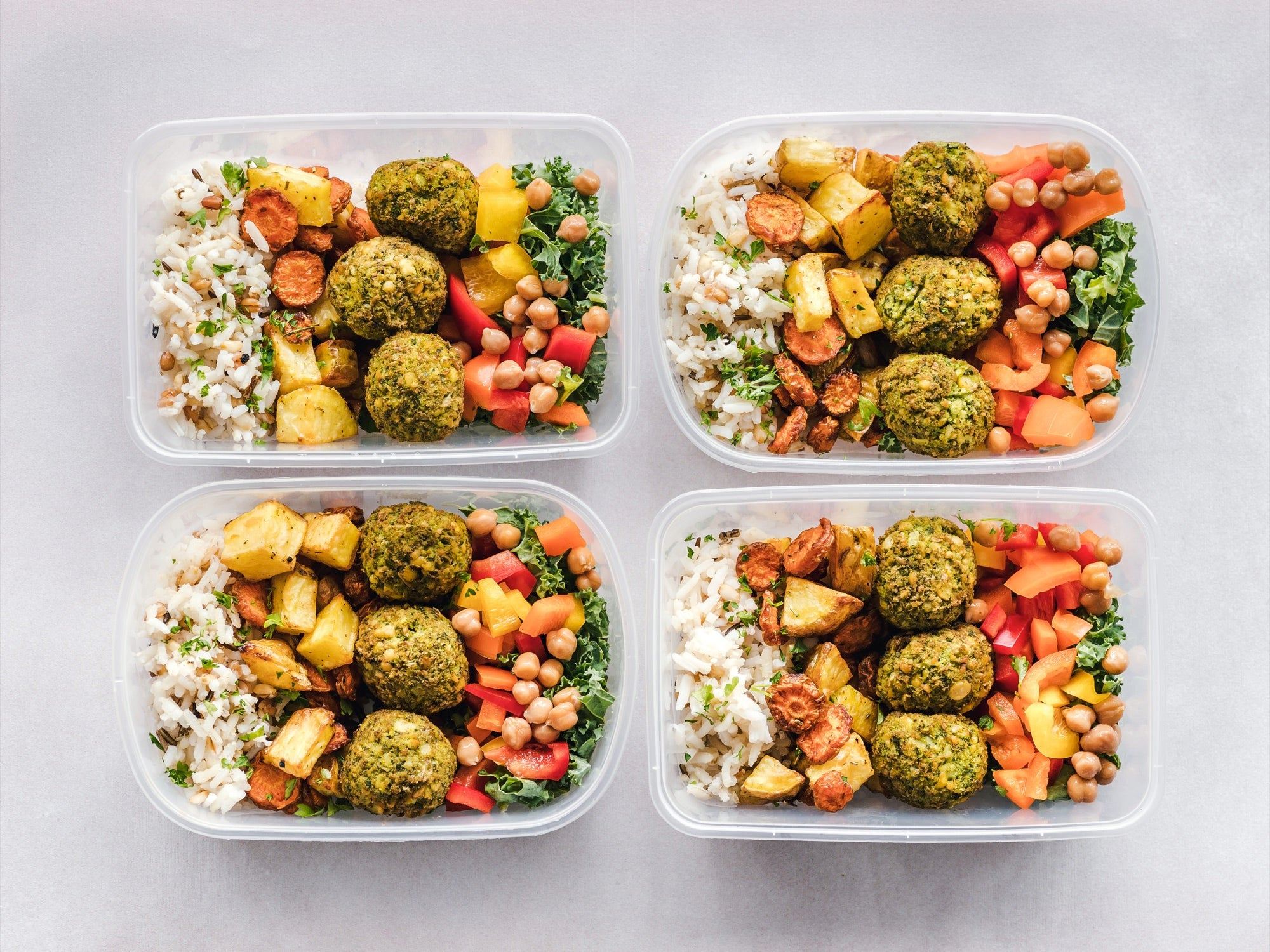 pre-portioned healthy meals in tupperware containers