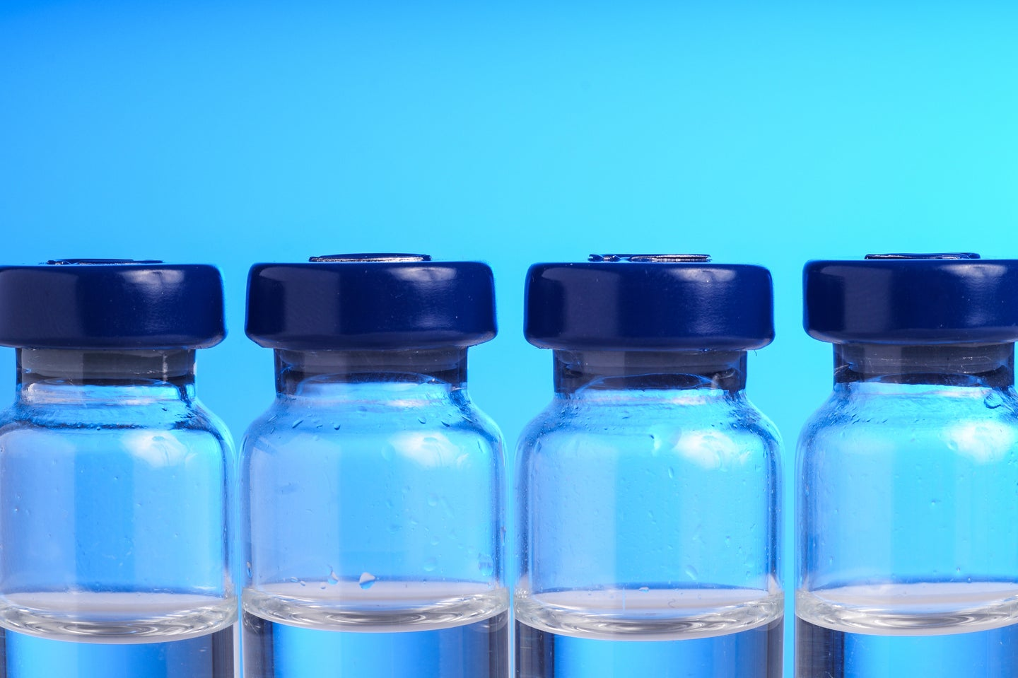 Unmarked vials to represent the COVID-19 vaccines in the US