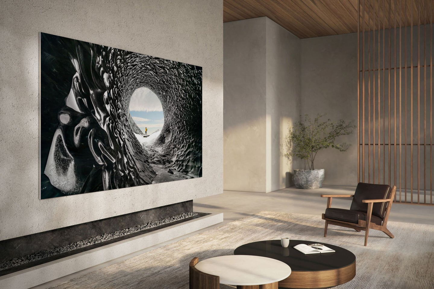 Giant samsung micro led TV in a fancy house