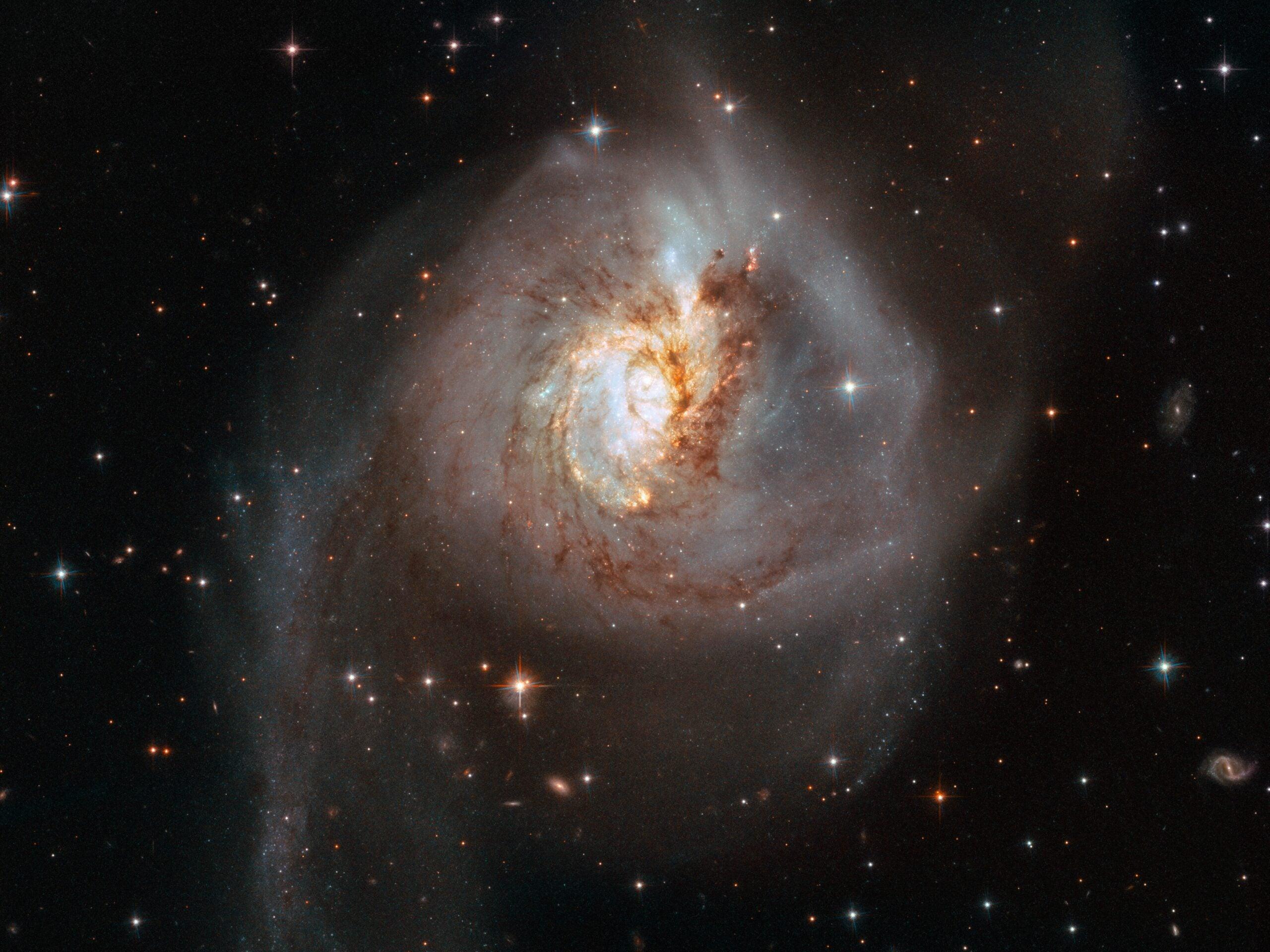 Interacting galaxies seen among stars through a telescope