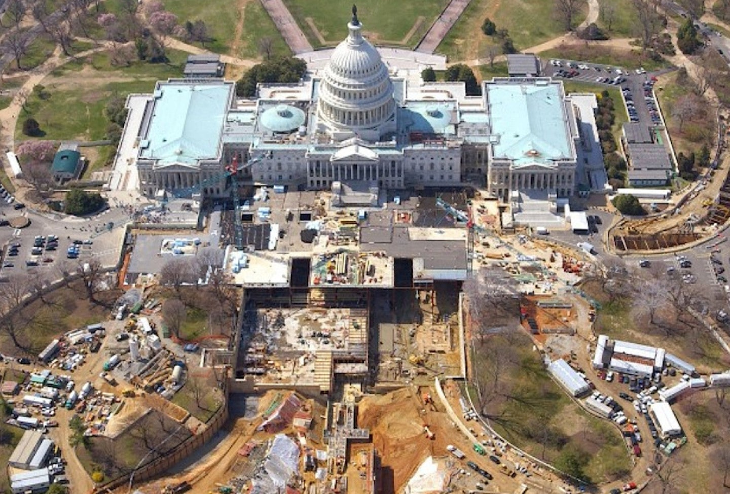 Capitol Hill aerial view with construction vehicles and work