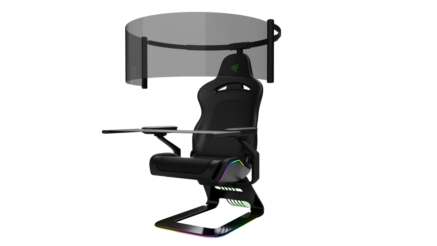 Razer project brooklyn gaming chair with a fold-out screen.