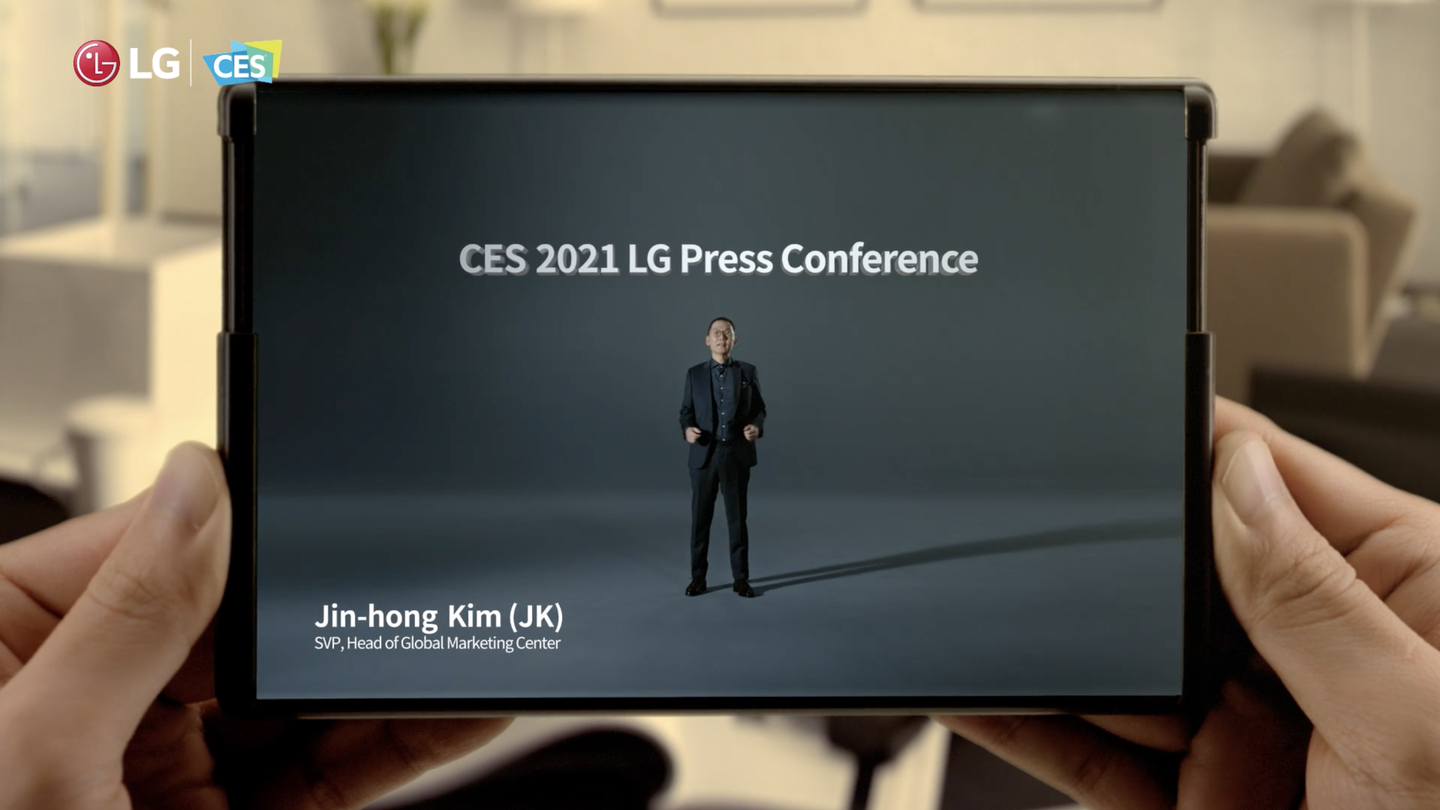 LG's Rollable phone demo from the company's 2021 CES conference.