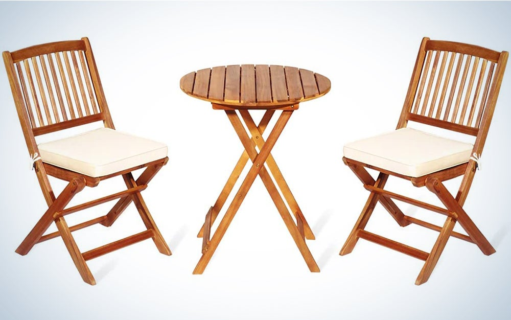 Giantex 3Pcs Patio Bistro Set, Wood Folding Table Set, 2 Cushioned Chairs for Garden Yard, Outdoor Furniture Round Table (Natural & Beige)