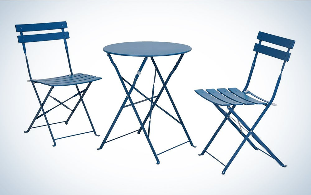 Grand patio Premium Steel Patio Bistro Set, Folding Outdoor Patio Furniture Sets, 3 Piece Patio Set of Foldable Patio Table and Chairs