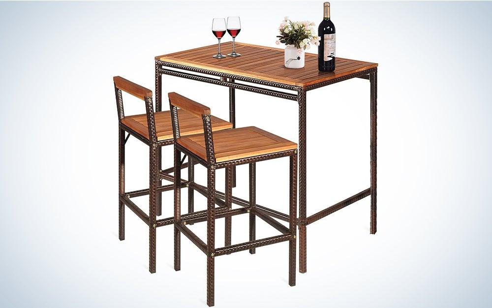 Tangkula 3 PCS Patio Bar Table Set, Outdoor Rattan Bar Set Bistro Set with Acacia Wood Top, Wood Table Set with 2 Bar Chairs for Dining Room, Backyard, Patio and Balcony