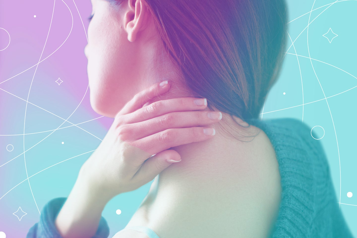A woman rubs her neck with her fingers in front of a pink and blue background