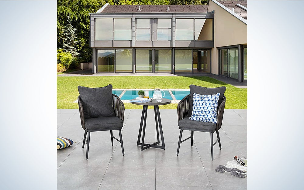 LOKATSE HOME Outdoor 3 Piece Bistro Set Patio Wicker Modern Balcony Furniture Include 2 Chairs with Seat and Back Cushions and 1 Coffee, Black Table Top