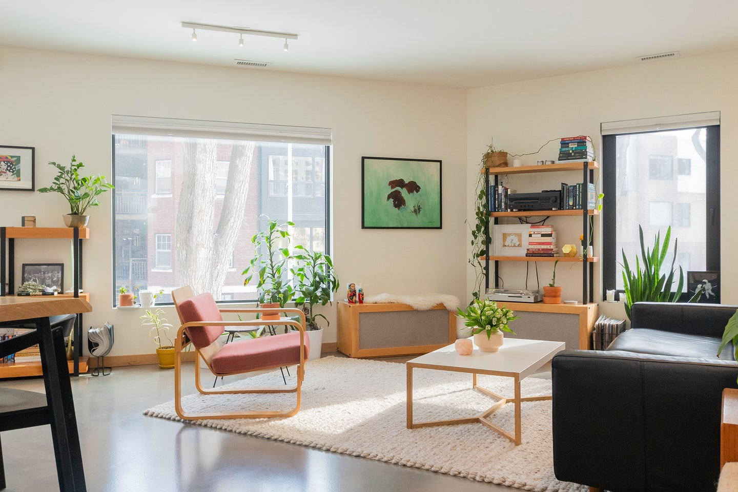 A well-organized living room with the best humidifier, chairs, tables, and bookshelves