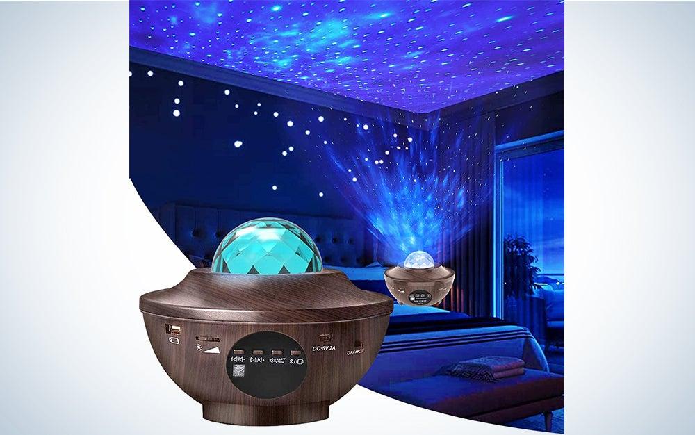 Aisuo Night Light, Star Projector with Bluetooth 5.0 HiFi Speaker, 21 Lighting Modes Bedside Lamp, Adjustable Lightness & Remote Control, Ideal Gift Ideas, Friends, Music Player, Decor.(Wood Grain)