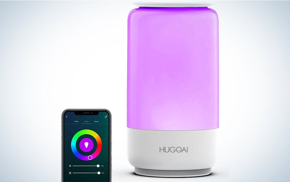 Smart Lamps for Bedroom, HUGOAI Wi-Fi Table Lamp, Works with Alexa & Google Home, LED Dimmable Lamp with Warm to Cool White Light and Vibrant Colors - White