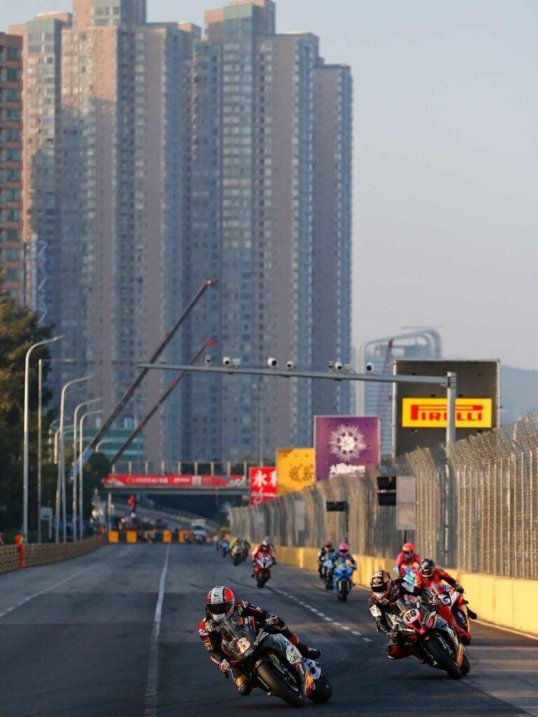 Multi-time Macau GP champ, Michael Rutter leads the race on the iconic RC213V-S Honda.