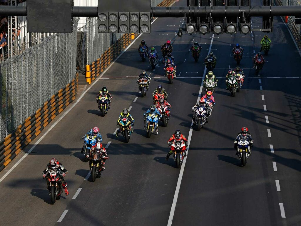 The thrilling start of the 2019 Macau GP motorcycle street road race.