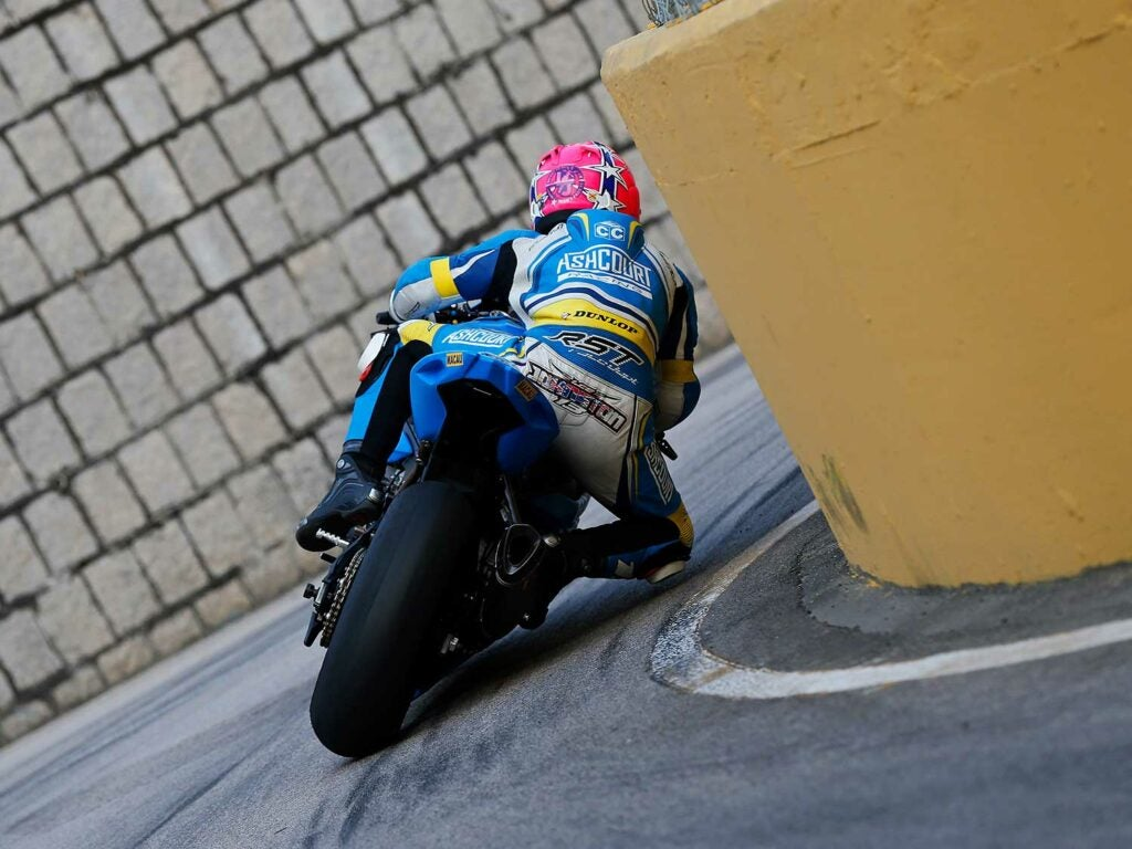Lee Johnston faces Maternity Bend on his BMW S 1000 RR.